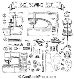 Hand Drawn Sketch big sewing Set - Tailor shop hand drawn...