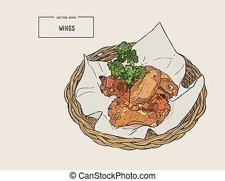 Hand drawn sketch buffalo chicken wings in basket.