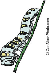 hand drawn, sketch, cartoon illustration of caterpillar