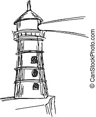 lighthouse - hand drawn, sketch, cartoon illustration of ...