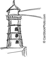 hand drawn, sketch, cartoon illustration of lighthouse
