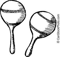 hand drawn, sketch, cartoon illustration of maracas