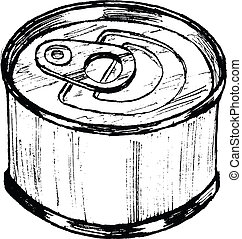tin can - hand drawn, sketch, cartoon illustration of tin...