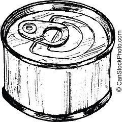hand drawn, sketch, cartoon illustration of tin can