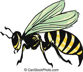 wasp - hand drawn, sketch, cartoon illustration of wasp