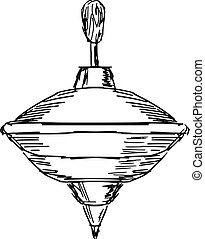 whirligig - hand drawn, sketch, cartoon illustration of...