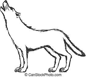 hand drawn, sketch, cartoon illustration of wolf