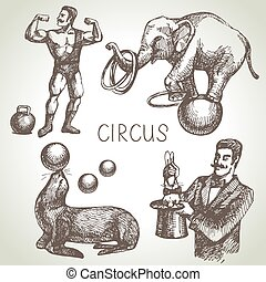 Hand drawn sketch circus and amusement vector illustrations....