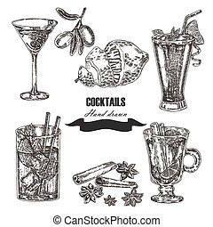 Hand drawn sketch cocktail set