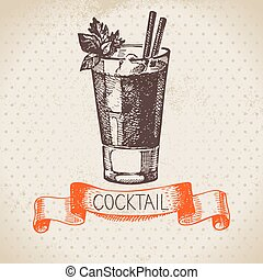 Hand drawn sketch cocktail vintage background. Vector...