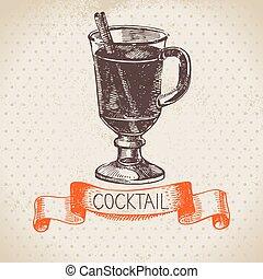 Hand drawn sketch cocktail vintage background