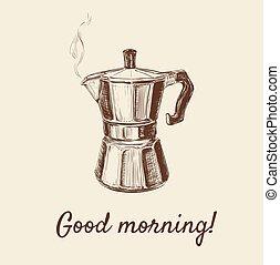 Hand Drawn Sketch Coffee Maker Vector Illustration