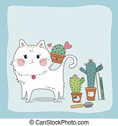 Hand drawn sketch cute cat and cactus in flower pot home and garden vector illustration