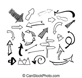Hand drawn sketch doodle arrows vector set. Isolated illustration on white background.