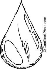 drop of blood - hand drawn, sketch, doodle illustration of...