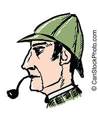 hand drawn, sketch, doodle illustration of Sherlock Holmes