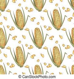 Hand drawn sketch ear of corn seamless pattern