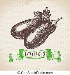 Hand drawn sketch eggplant vegetable. Eco food background. ...