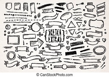 Hand drawn sketch elements - Hand drawn pen sketch elements....
