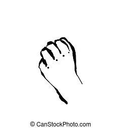 Hand drawn sketch fist vector illustration. Willpower