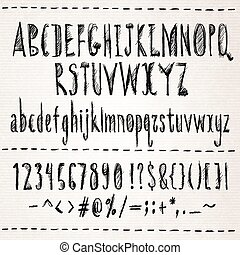 Hand drawn sketch font. Isolated in white background.
