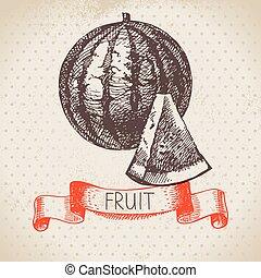 Hand drawn sketch fruit watermelon. Eco food background