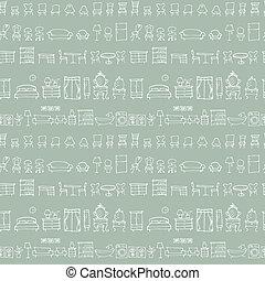 Hand drawn sketch furniture pattern