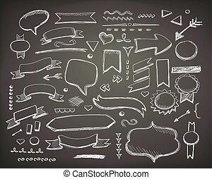 Hand drawn sketch hand drawn elements. Vector chalkboard illustration.