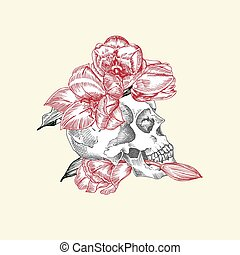 Hand drawn sketch human skull in wreath of flowers. Red tulip Funny character Black graphic Engraving art isolated on white background. Vintage style. Vector illustration