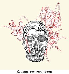 Hand drawn sketch human skull with beard and mustache in wreath of flowers. Red lilies Funny character Black graphic Engraving art isolated on white background. Vintage style. Vector illustration