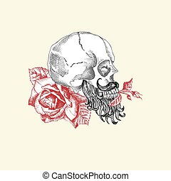 Hand drawn sketch human skull with beard and mustache in wreath of flowers. Red roses Funny character Black graphic Engraving art isolated on white background. Vintage style. Vector illustration