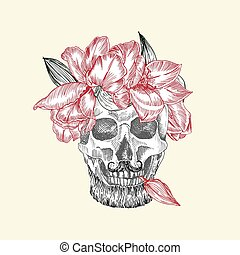 Hand drawn sketch human skull with beard and mustache in wreath of flowers. Red tulip Funny character Black graphic Engraving art isolated on white background. Vintage style. Vector illustration