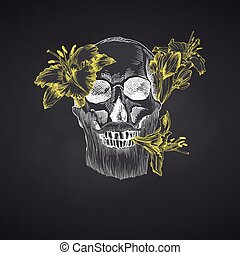 Hand drawn sketch human skull with beard and mustache in wreath of flowers. Yellow lilies Funny character Chalk graphic Engraving isolated on chalkboard background Vintage style Vector illustration