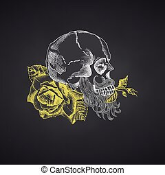 Hand drawn sketch human skull with beard and mustache in wreath of flowers Yellow roses Funny character Chalk graphic Engraving art isolated on chalkboard background Vintage style. Vector illustration