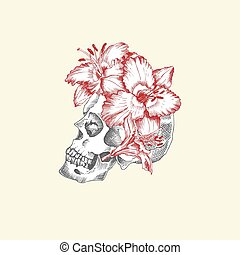 Hand drawn sketch human skull with wreath of flowers. Red lilies Funny character Black graphic Engraving art isolated on white background. Vintage style. Vector illustration