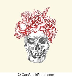 Hand drawn sketch human skull with wreath of flowers. Red roses Funny character Black graphic Engraving art isolated on white background. Vintage style. Vector illustration