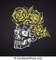 Hand drawn sketch human skull with wreath of flowers. Yellow roses Funny character Chalk graphic Engraving art isolated on chalkboard background. Vintage style. Vector illustration