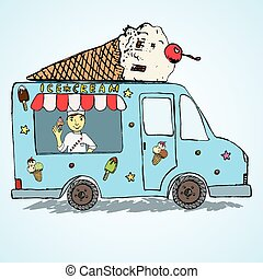 Hand drawn sketch Ice Cream Truck, Colorfiled and Playful with yang man seller and Ice Cream cone on top.