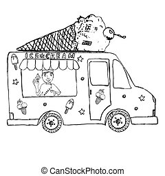 Hand drawn sketch Ice Cream Truck, with yang man seller and Ice Cream cone on top, isolated.