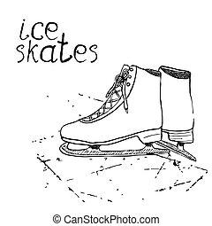 Hand drawn sketch ice skates.
