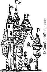 hand drawn, sketch illustration of castle