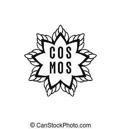 hand drawn, sketch illustration of cosmos logo