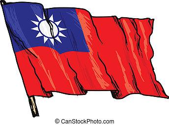 flag of Republic of China - hand drawn, sketch, illustration...