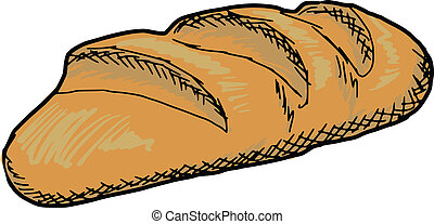 long loaf - hand drawn, sketch illustration of long loaf