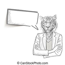 Tiger businessman with a empty speech bubble