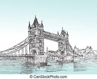 Hand Drawn sketch illustration of Tower Bridge, London, UK. vector