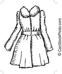 women coat - hand drawn, sketch illustration of women coat
