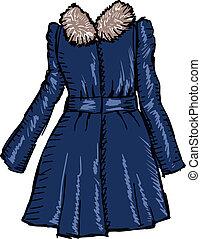 hand drawn, sketch illustration of women coat