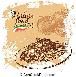 Hand drawn sketch Italian food background.Vector...