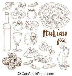 Italian food set - Hand drawn sketch Italian food set with...